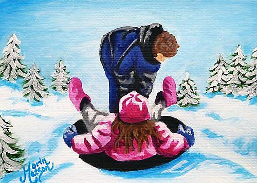 Art: Winter Sledding  (SOLD) by Artist Monique Morin Matson