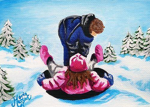 Art: Winter Sledding  (SOLD) by Artist Monique Morin Matson