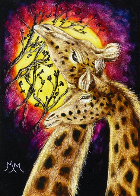 Art: Giraffes In Love  (SOLD) by Artist Monique Morin Matson