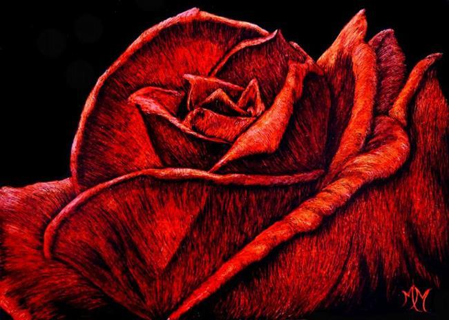 Art: Red Rose  (SOLD) by Artist Monique Morin Matson