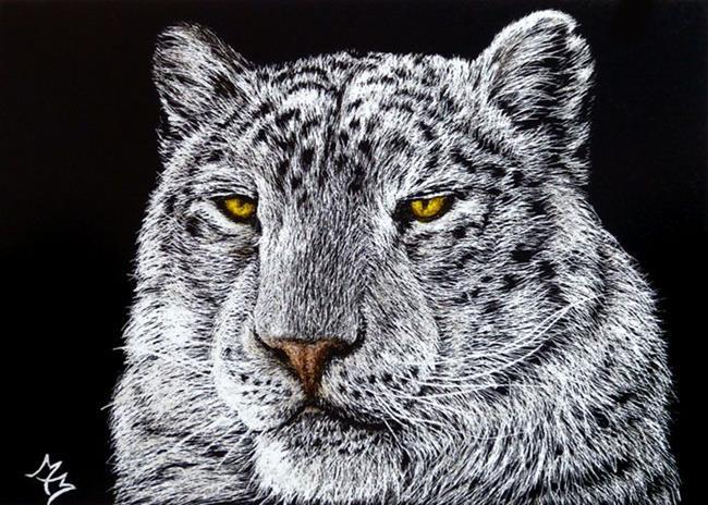 Art: Snow Leopard  (SOLD) by Artist Monique Morin Matson