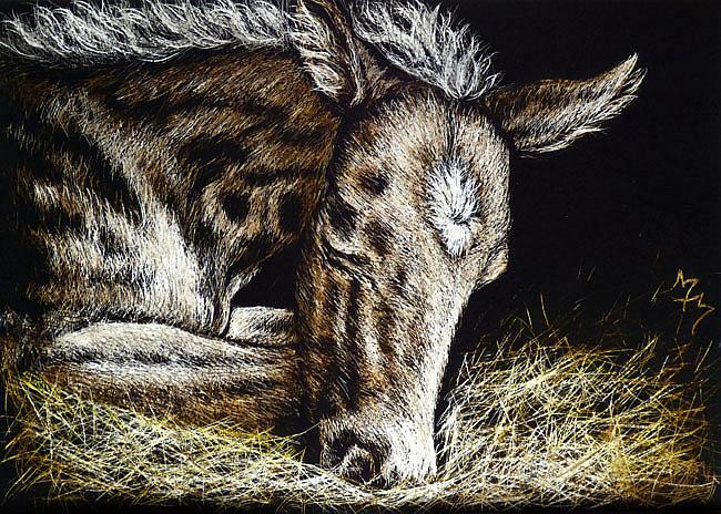 Art: Sleeping Newborn  (SOLD) by Artist Monique Morin Matson