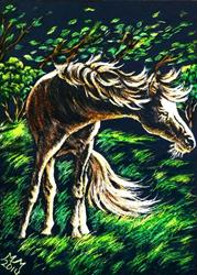 Art: Windy Pony  (SOLD) by Artist Monique Morin Matson