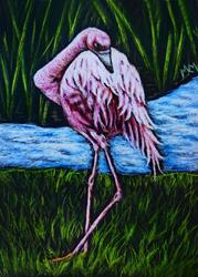 Art: Flamingo by Artist Monique Morin Matson
