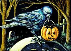 Art: Trick or Treat Crow by Artist Monique Morin Matson