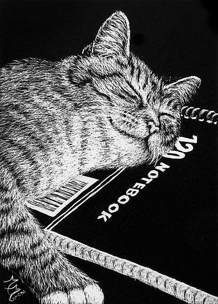 Art: Pulling An All-Nighter  (SOLD) by Artist Monique Morin Matson