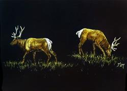 Art: Elk Bulls by Artist Monique Morin Matson