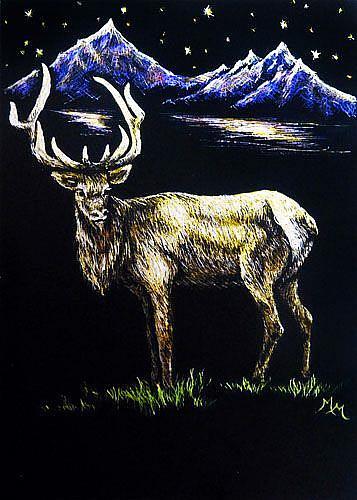 Art: Elk at NightFall  (SOLD) by Artist Monique Morin Matson