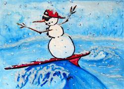Art: Surfing Snowman  (SOLD) by Artist Monique Morin Matson