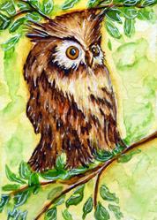 Art: Morning Owl by Artist Monique Morin Matson