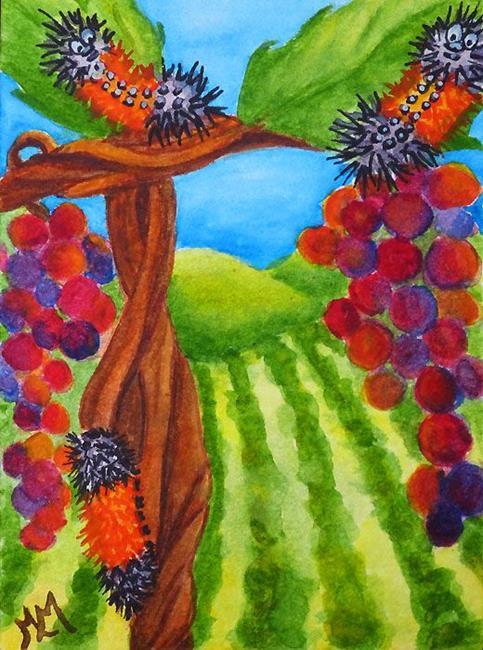 Art: Hanging in the Vineyard  (SOLD) by Artist Monique Morin Matson