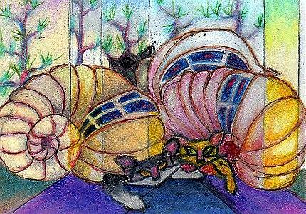 Art: 3 Hermit Cats (Crabs) Campers by Artist Judith A Brody