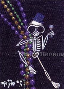 Art: Mardi Gras Beads - ACEO by Artist Misty Monster (Benson)