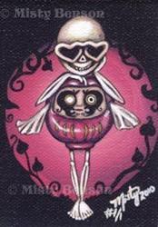 Art: Love Daruma Skelly - ACEO by Artist Misty Benson