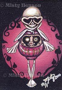Art: Love Daruma Skelly - ACEO by Artist Misty Monster (Benson)