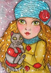 Art: Winter Kitty Hugs Girl and Cat Mounted ACEO by Artist Lisa M. Nelson