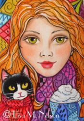 Art: Sweaters and Latte Tuxedo Cat and Girl Mounted ACEO by Artist Lisa M. Nelson