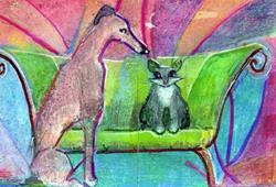 Art: Orig ACEO Greyhound & Cat, Sofa by Artist Judith A Brody