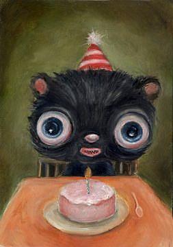Art: Happy Birthday (Birthday Bear) by Artist Vicky Knowles