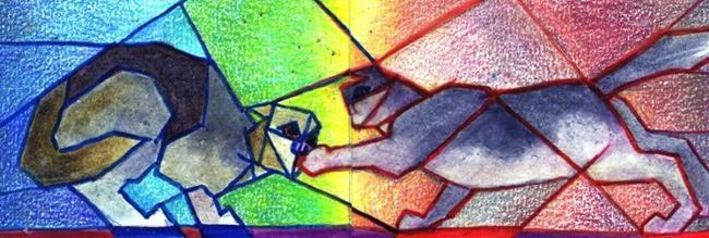 Art: Cat Fight (Diptych) by Artist Judith A Brody