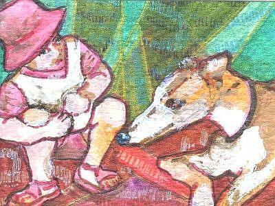 Art: Child Meets Grandma's Dog by Artist Judith A Brody