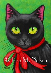 Art: Black Cat and Red Ribbon Mini Painting Mounted ACEO by Artist Lisa M. Nelson