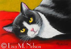 Art: Playful Black and White Tuxedo Cat Mini Painting Mounted ACEO by Artist Lisa M. Nelson