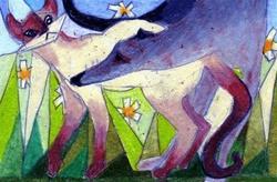 Art: ACEO Original Stealth Siamese Cat, Greyhound, Brody by Artist Judith A Brody