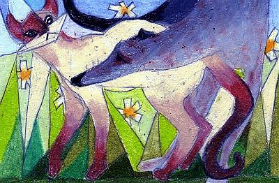 Art: ACEO Original Stealth Siamese Cat, Greyhound, Brody by Artist Judith A Brody