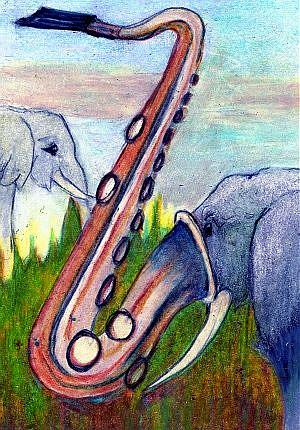 Art: Orig ACEO Elephant Out of Africa Brody by Artist Judith A Brody