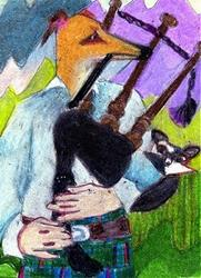 Art: Greyhound Playing (Cat) Bagpipes by Artist Judith A Brody