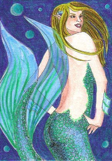 Art: Blue Bubbles by Artist Emily J White