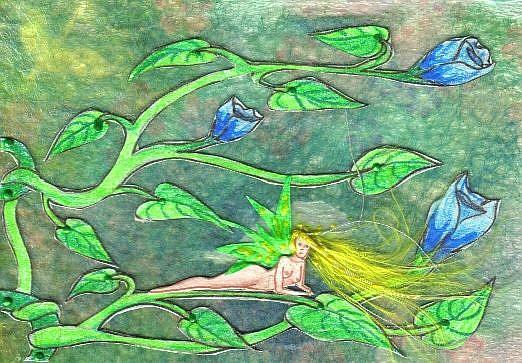 Art: Sapphire Roses by Artist Emily J White