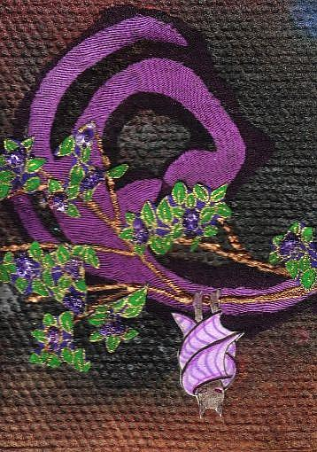 Art: Violet Winged Bat by Artist Emily J White