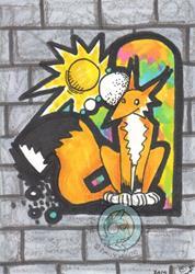 Art: Graffiti Fox by Artist Emily J White