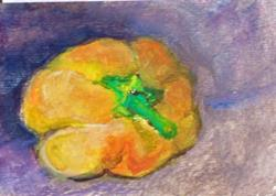 Art: Yellow Pepper Aceo by Artist Delilah Smith