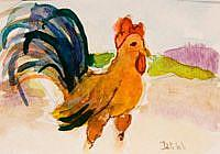 Art: Rooster with the Blue Tail Feathers Aceo-sold by Artist Delilah Smith