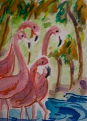 Art: Pink Flamingo's by Artist Delilah Smith