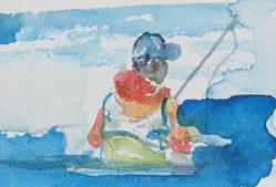 Art: Man Fishing-sold by Artist Delilah Smith
