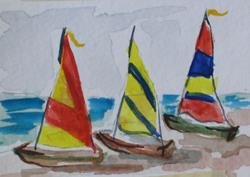 Art: Sail Boats-sold by Artist Delilah Smith