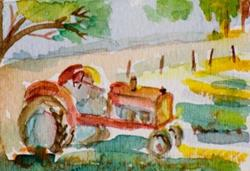 Art: Tractor Aceo by Artist Delilah Smith