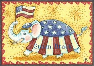 Art: ELEPHANTS FOURTH OF JULY by Artist Susan Brack
