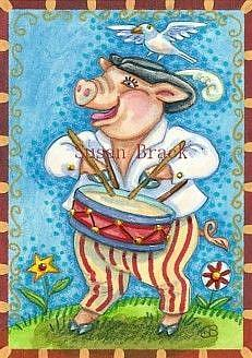 Art: PIG PATRIOT by Artist Susan Brack