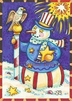 Art: SNOWMAN AMERICANA by Artist Susan Brack