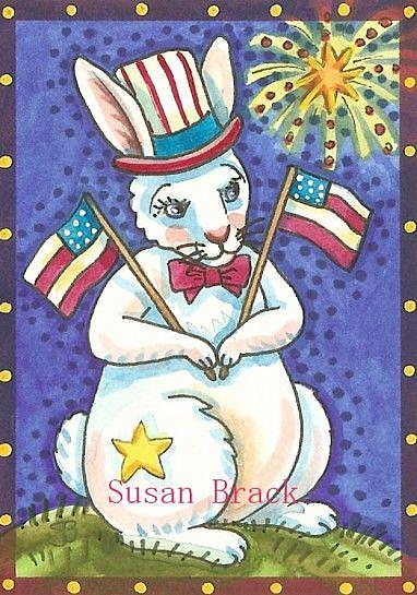 Art: FOURTH OF JULY HARE by Artist Susan Brack