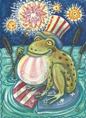 Art: 4TH OF JULY AMERICAN BULLFROG by Artist Susan Brack