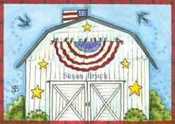 Art: A BARN SWALLOW 4TH OF JULY by Artist Susan Brack