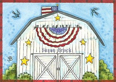 Art: A BARN SWALLOW 4TH OF JULY by Artist Susan Brack