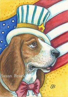Art: BASSET HOUND AMERICANA by Artist Susan Brack