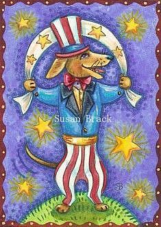 Art: 4TH OF JULY HOT DOG by Artist Susan Brack